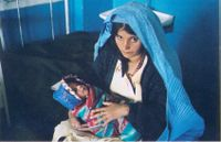 Femme et bébé hôpital bleu 1